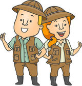 Couple Wearing Safari Outfits — Stock Photo