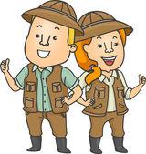 Couple Wearing Safari Outfits — Stock Photo