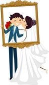 Newlyweds Kissing Behind a Frame — Stock Photo