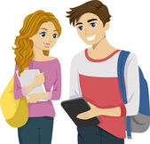 Teen Couple Checking Tablet — Stock Photo