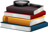 Stack of Books with a Magnifying Glass — Stock Photo