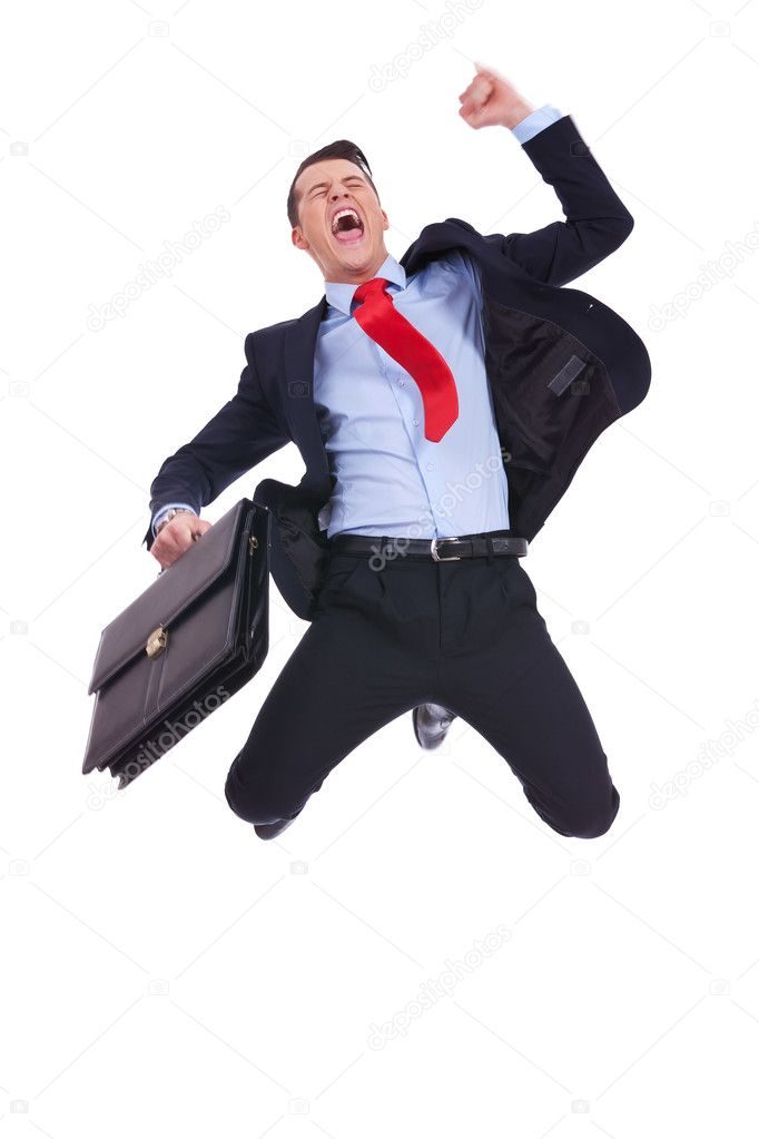 Super excited business man with briefcase — Stock Photo ...