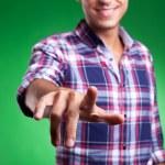 Man pinting or pushing imaginary button — Stock Photo #12561474