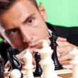 Business man thinking at a chess strategy — Stock Photo