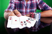 Cropped image of a winning four aces poker hand — Stock Photo