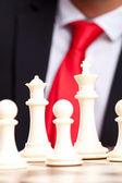 黒白チェス王、女王およびポーン — ストック写真