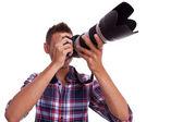 Scattare foto di giovane fotografo — Foto Stock