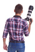 Professional male photographer holding his camera — Stock Photo