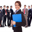 Young business woman leading a team - Stock Photo
