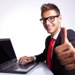 Business man working and showing ok — Stock Photo