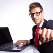 Business man pointing his finger — Stock Photo #12811794