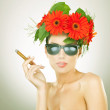 Sexy young woman smoking — Stock Photo