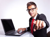 Business man pointing his finger — Stock Photo