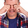 Grown-up crying like a baby - Stockfoto