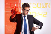 Business man starting the final countdown — Stock Photo