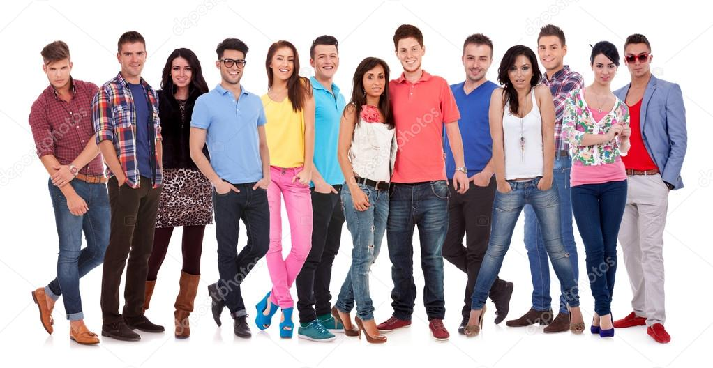 Group of casual happy smiling and standing isolated over a white background  Stock Photo #13212416