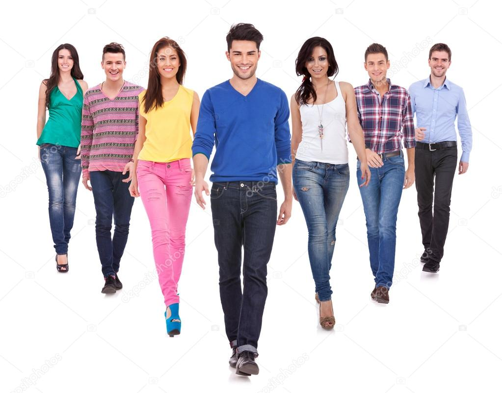 Large group of friends, young casual ,  walking together and looking at their future isolated on white background — Stock Photo #13212436