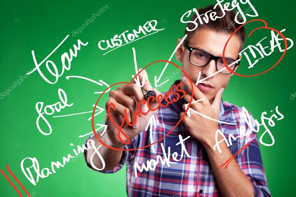 Business man writing success concept by goal, vision, creativity, teamwork, focus, inspiration, training — Foto Stock #13212455