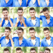 Young man's faces collage - Stock Photo