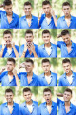 Young man's faces collage — Stock Photo