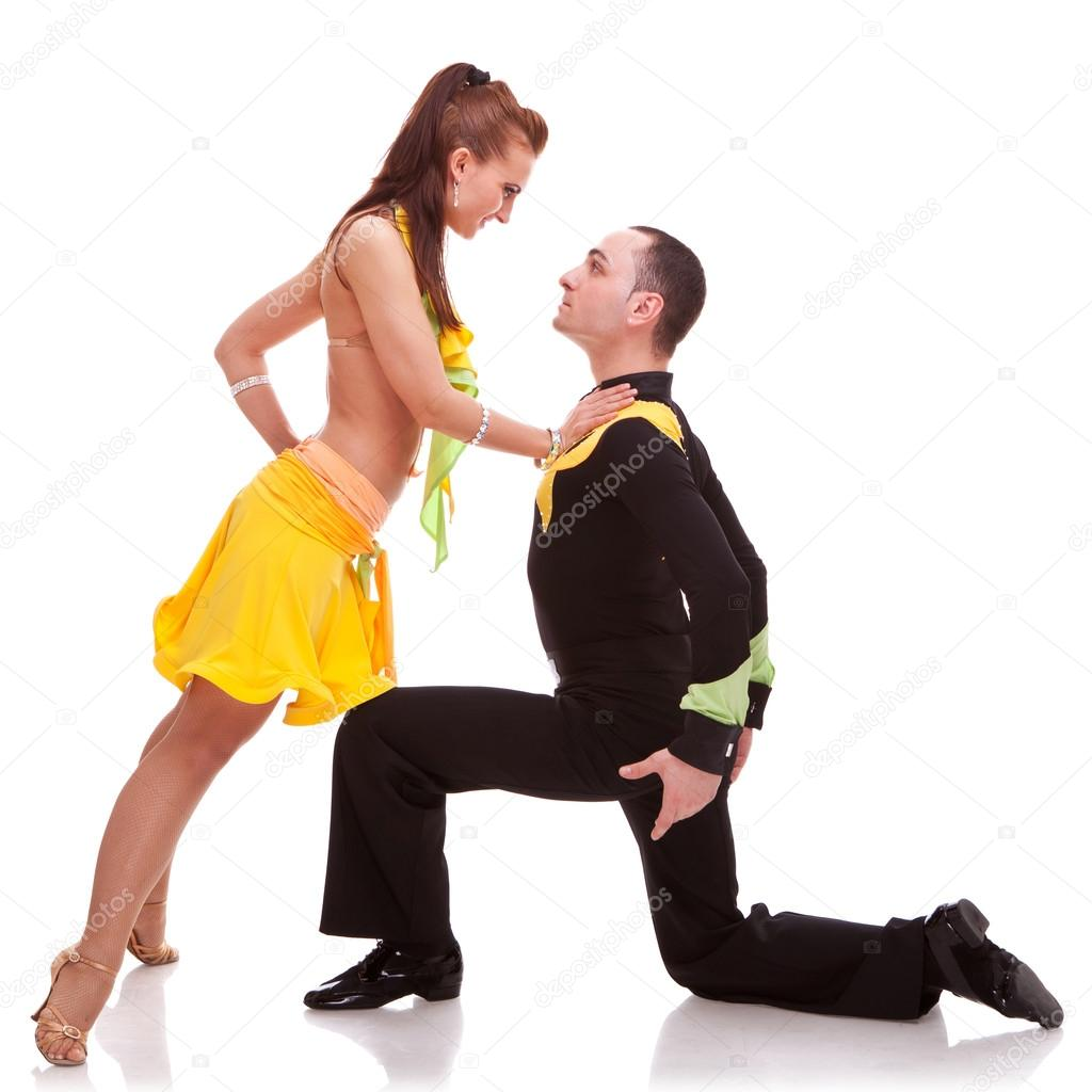 Salsa woman dancer leaning on her kneeling dance partner — Stock Photo #13515905
