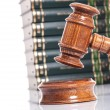 Judge gavel with books in the background — Stock Photo