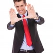 Executive making frame with his hands — Stock Photo