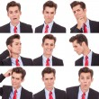 Many business man facial emotional expressions — Stock Photo #13684360