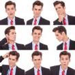 Many business man facial emotional expressions — Stock Photo