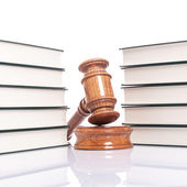 Justice concept - law books and judges gavel — Stock Photo