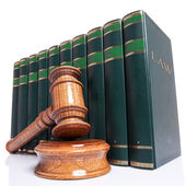 Judges gavel and law books — Stok fotoğraf