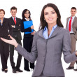 Business woman welcoming to her team — Stock Photo