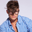 Fashion man with hair on face - Stockfoto