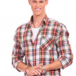 Attractive young casual man welcoming - Stock Photo