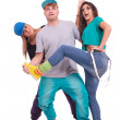 Stock Photo: Two women and a man fooling around