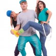 Two women and a man fooling around — Stock Photo