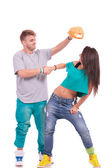 Hip hop couple goofing around — Stock Photo