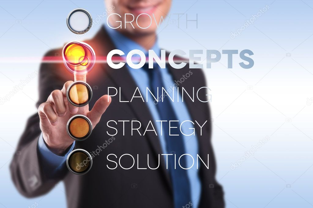Business man pushing cconcepts button from a list of choices — Stock Photo #14590245