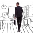 Walking businessman on an office like sketched background — Stock Photo