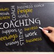 Business man writing the coaching  concepts - Stok fotoraf