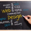 Business man writing the web design concepts - Stockfoto