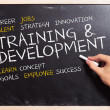 Man writing the  training and development  concepts - Stock Photo