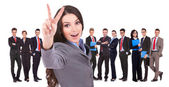Succesful business woman and her victorious team — Stock Photo