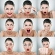 Young woman face expressions composite — 图库照片