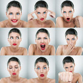 Young woman face expressions composite — Stock Photo