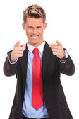 Businessman Pointing Finger — Stock Photo
