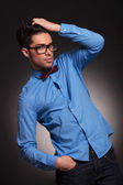 Fashion man dressed casual with glasses — Stock Photo