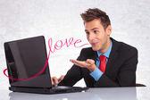 Man sending his love — Stock Photo
