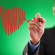 Man drawing heartbeat for valentine's day - Stock Photo