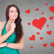 Woman wondering how is it to be in love - Stock Photo